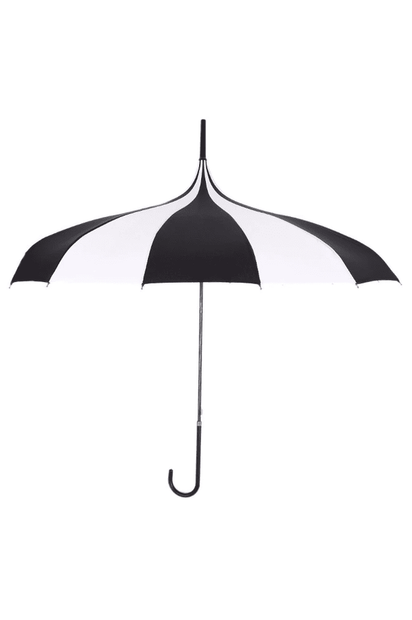 Striped Pagoda Umbrella - Black / White Parasol