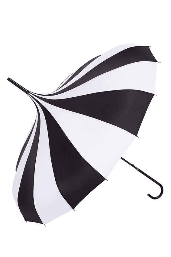 goth striped umbrella for rainy days with dark alternative fashion