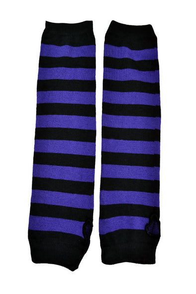 Poizen Striped Black/Purple Armwarmers - Vampirefreaks Store