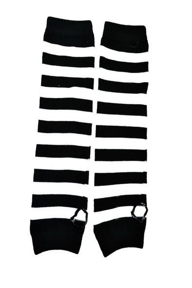 Poizen Striped Black/White Armwarmers - Vampirefreaks Store