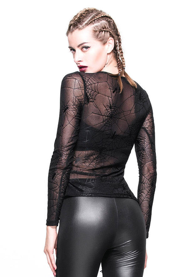 Devil Fashion Spiderweb Fishnet Longsleeve Top - Vampirefreaks Store