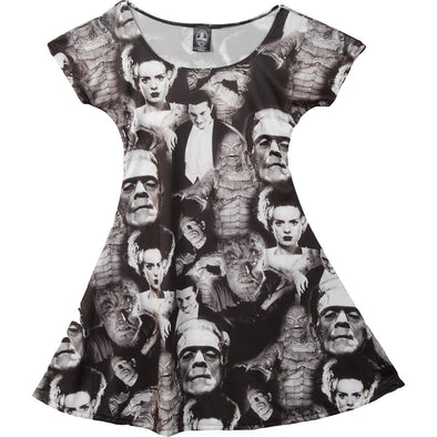 Universal Monsters Collage Skater Dress
