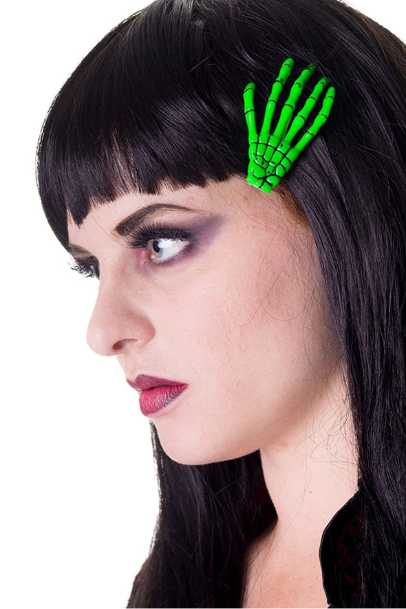 Slime Green Skeleton Hand Hair Clips [2 Pack]