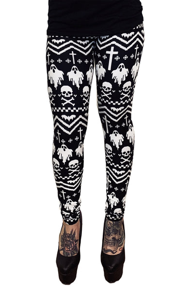Gothic Xmas Winter Leggings I'm With Creepy