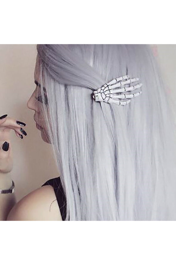 White Skeleton Hand Hair Clips [2 Pack]
