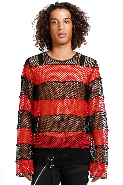 Mega Mesh Stripe Jersey [Red/Black]