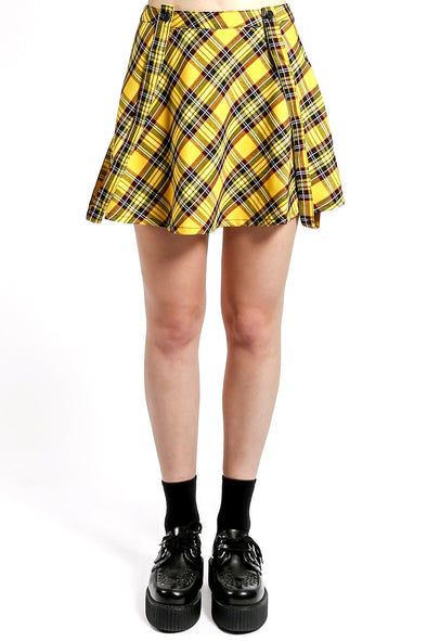 Tripp Suspender Strap Plaid Skirt [Yellow]