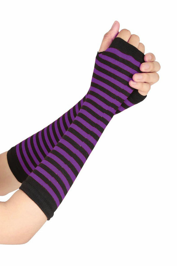 Emo Striped Arm Warmers [Purple/Black]