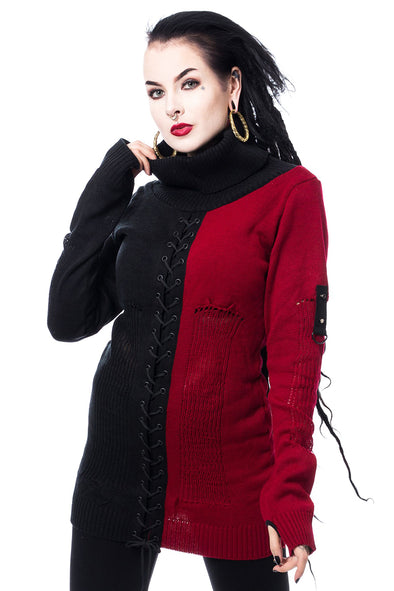 Poizen Industries Ava Top (Red / Black) - Vampirefreaks Store