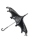 Hilarys Vanity Bat Damask Umbrella (Black/White)