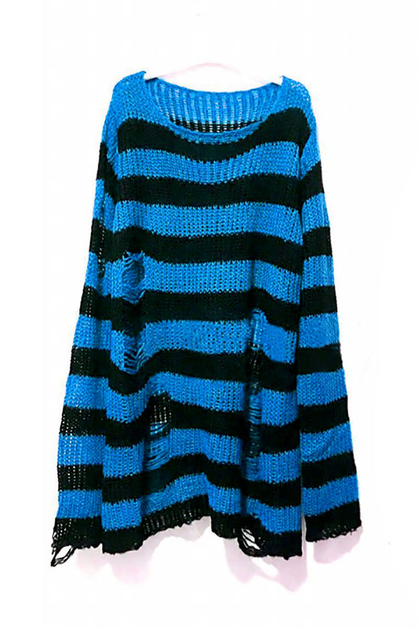 Blue/Black Striped Distressed Sweater