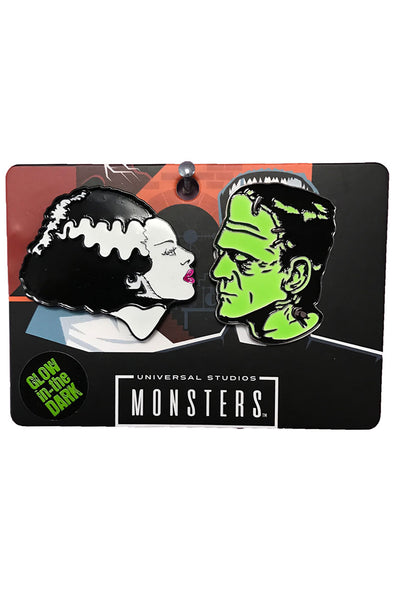 Rock Rebel Bride & Frankenstein Enamel 2-Pin Set - Vampirefreaks Store