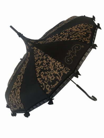 Hilarys Vanity Brown Swirl Steampunk Umbrella (Black/Brown)