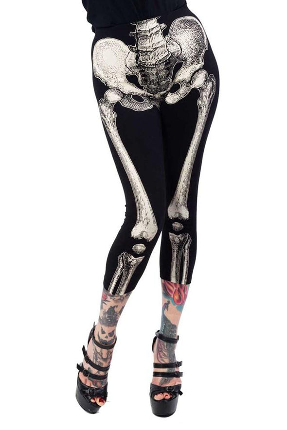 Kreepsville 666 Skele-Bone Skeleton Capri Leggings (Black/White) - Vampirefreaks Store