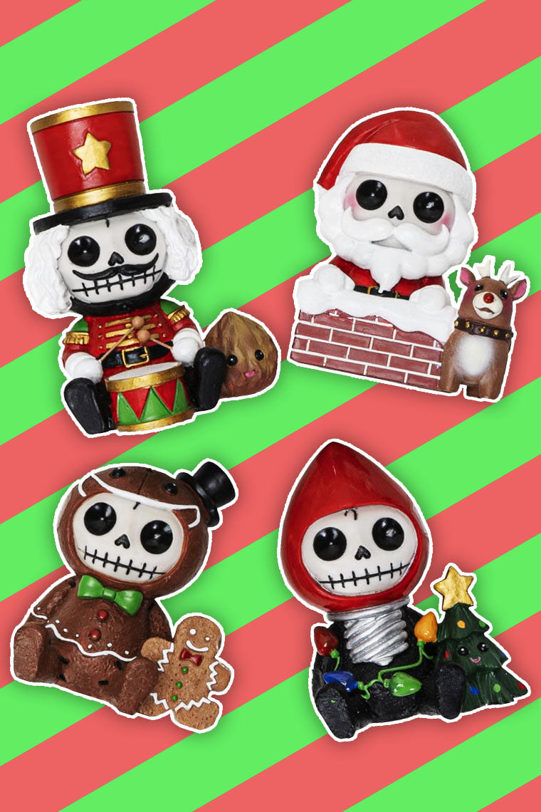Furry Bones Christmas Characters Skeleton Limited Edition Figurines Set Of 4