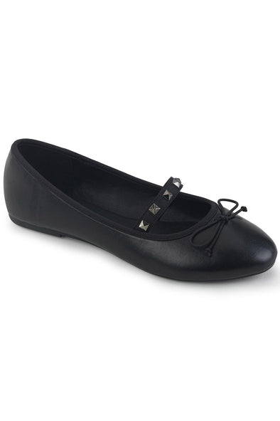 Punk Princess Flats DRAC-07 [Black Vegan Leather]