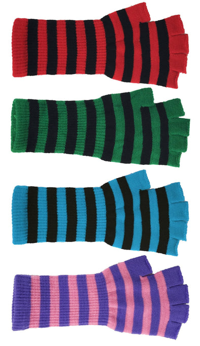 Striped Fingerless Long Gloves - Various Colors