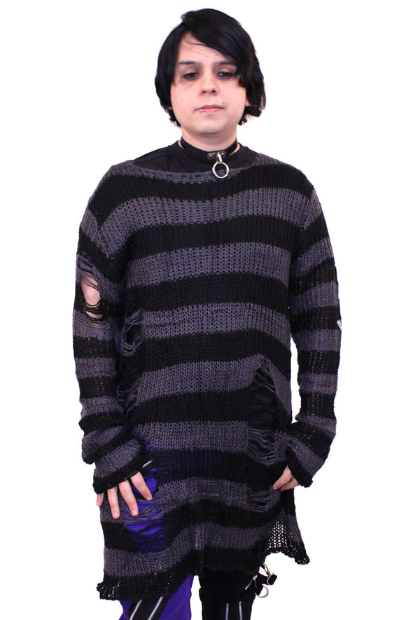 Grey/Black Striped Distressed Sweater