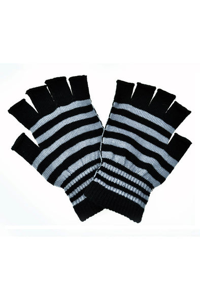 Poizen Striped Fingerless Gloves (Black/Gray)