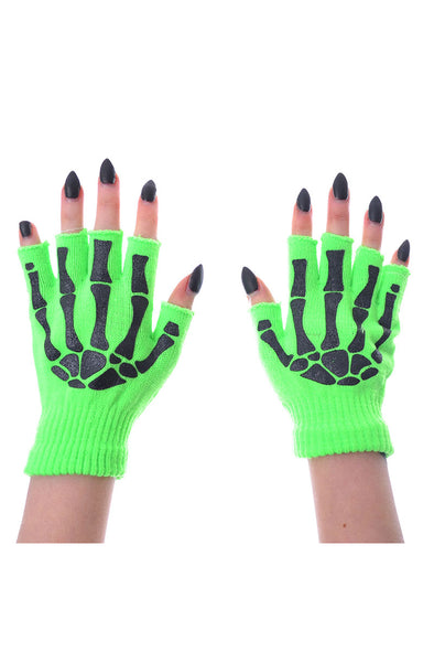 Green Fingerless Skeleton Gloves