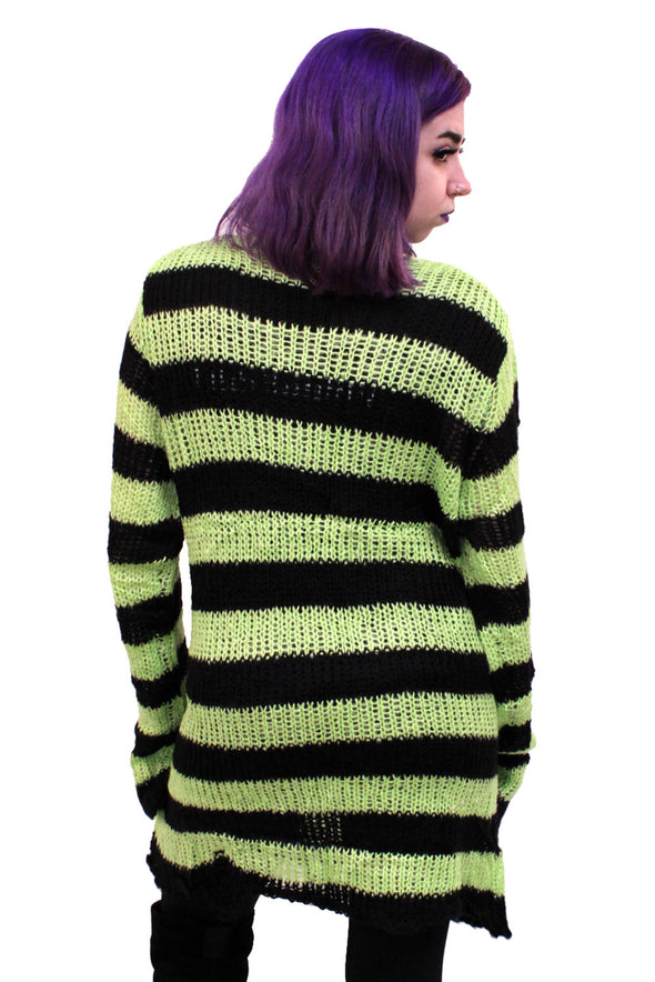 Neon Green/Black Striped Distressed Sweater