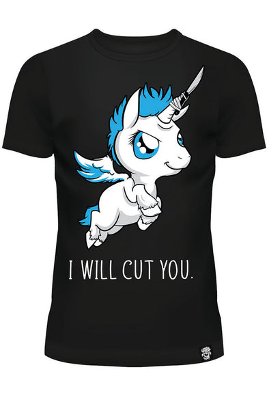 I Will Cut You - Unicorn Ladies T-shirt - Vampirefreaks Store