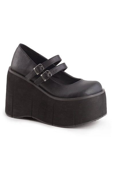 Killer KERA-08 Platform Mary Janes [Black Vegan Leather]