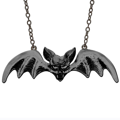 Rock Rebel Lily Bat Black Pendant