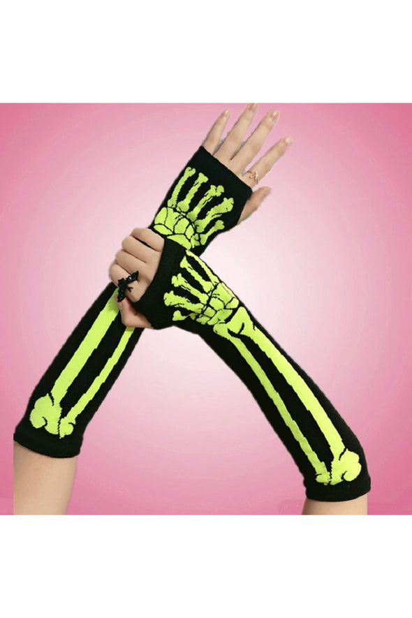 mens skeleton arm warmers gloves