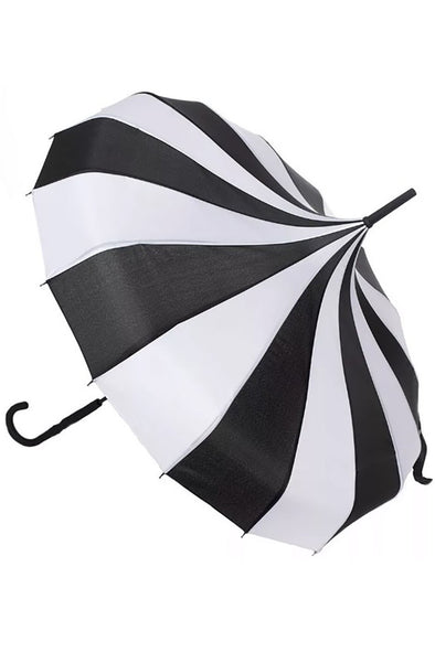 Sourpuss Striped Pagoda Umbrella Black/White - Vampirefreaks Store