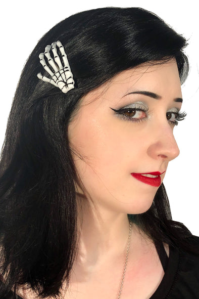 Skeleton Hands Hair Clips [Pack of 2, Multiple Colors Available]