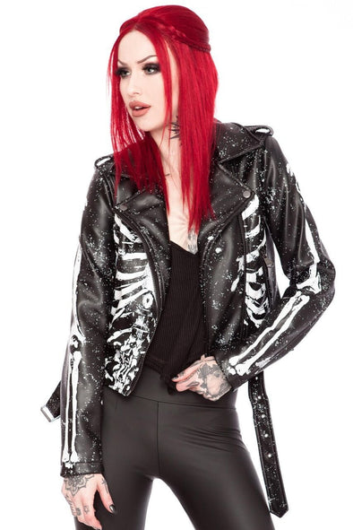 Killstar Morgue Gimme Bones Women's Biker Jacket
