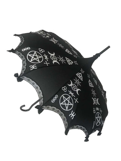 Hilarys Vanity Pagan Umbrella (Black/White) - Vampirefreaks Store