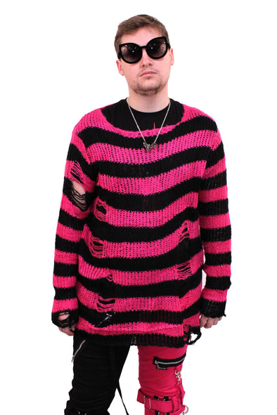 Hot Pink/Black Striped Distressed Sweater