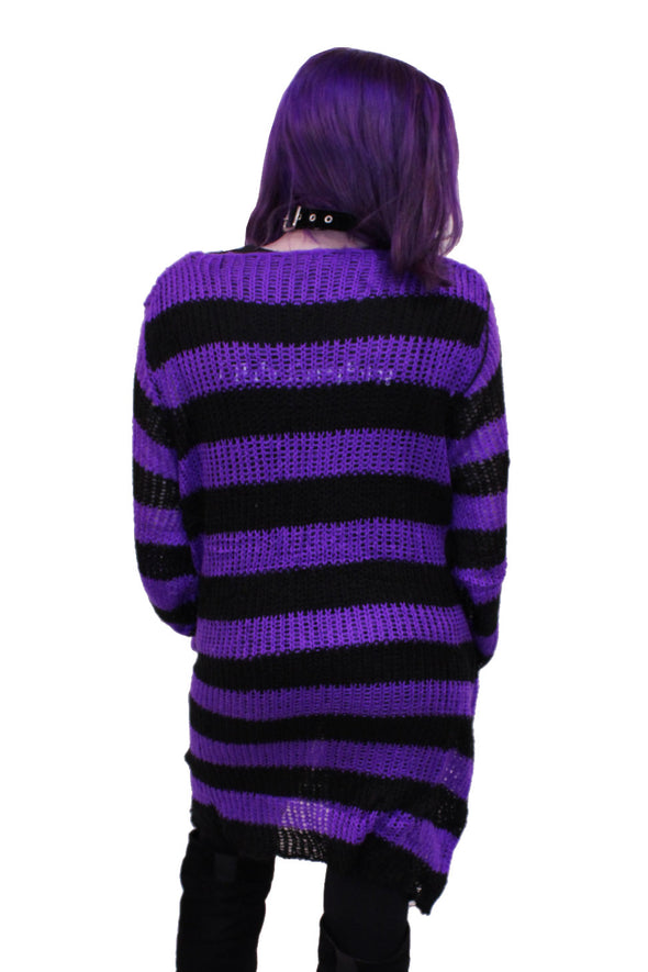 Purple/Black Striped Distressed Sweater