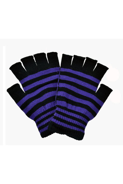 Poizen Striped Fingerless Gloves (Black/Purple) - Vampirefreaks Store