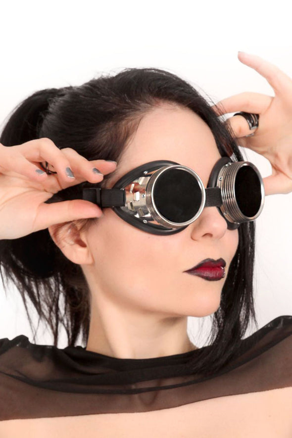 Cyber Steampunk Goggles Tinted - Black Lens
