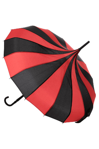 Striped Pagoda Umbrella - Black / Red Parasol