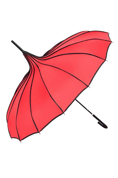 Pagoda Umbrella - Red w/ Black Polka Dot Trim Parasol - Vampirefreaks Store