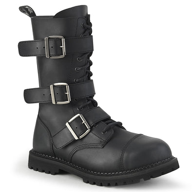 Demonia - RIOT-12BK - Black Vegan Leather - Unisex Combat Boots - Vampirefreaks Store
