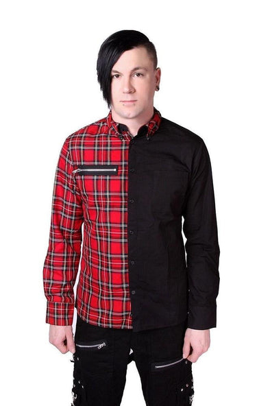 Tripp NYC Split Shirt - Red Tartan