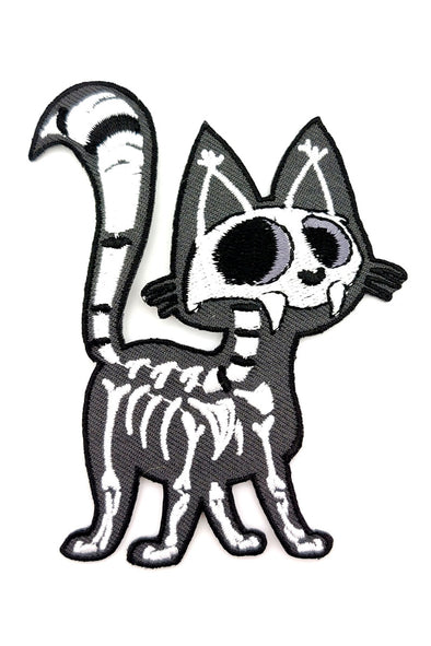 Skelekitty Embroidered Patch