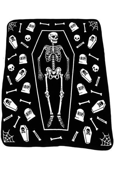 goth skeleton blanket