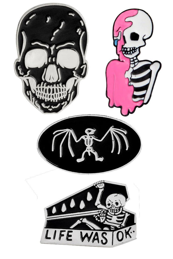 Skeleton Death 4-Pin Pack - Vampirefreaks Store