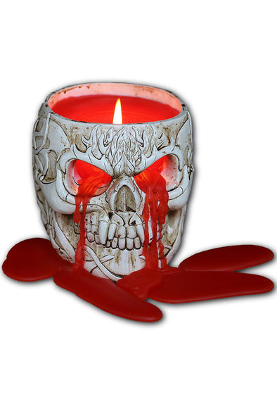 Goth Skull - Resin Candle Holder with Wax Candle - Vampirefreaks Store