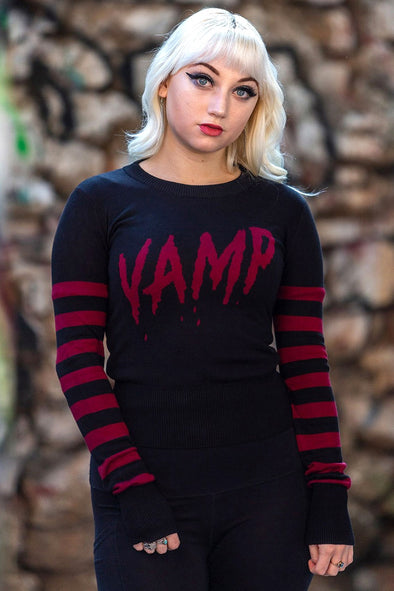 Vamp Sweater w/ Stripey Sleeves
