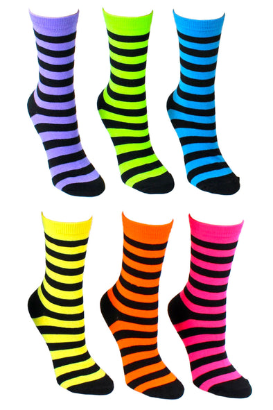 Neon Striped Crew Socks