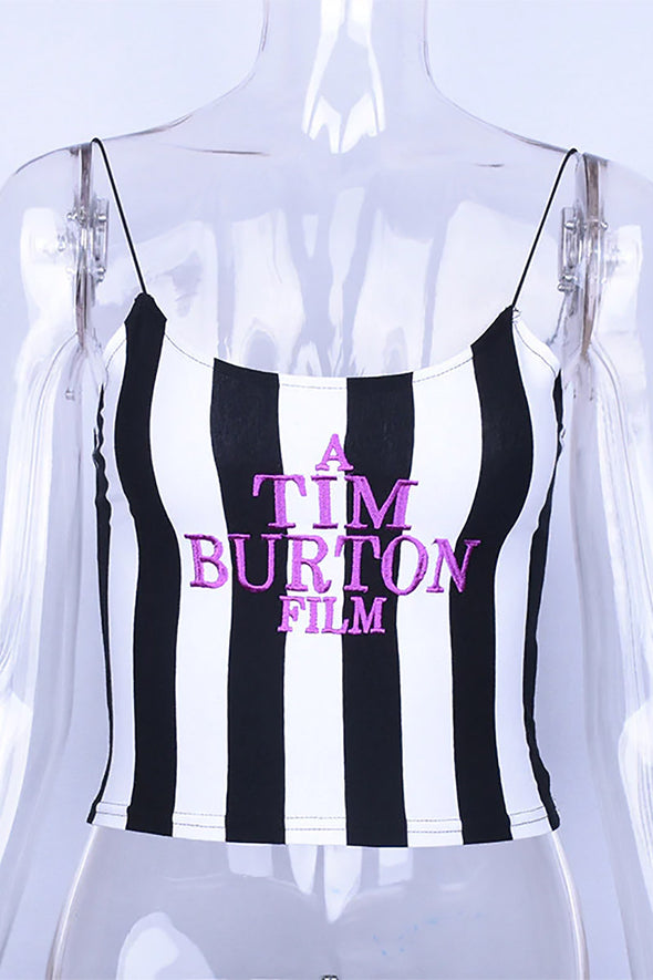 Striped Tim Burton Film Camisole Crop Top - Vampirefreaks Store