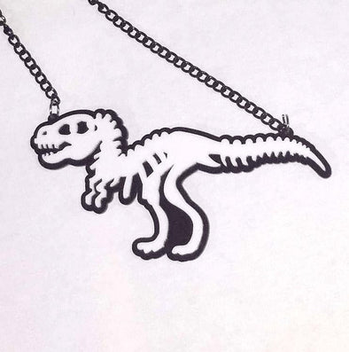T-Rex Skeleton Necklace (Black / White) - Vampirefreaks Store