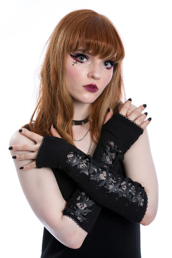 trad goth lace armwarmers gloves
